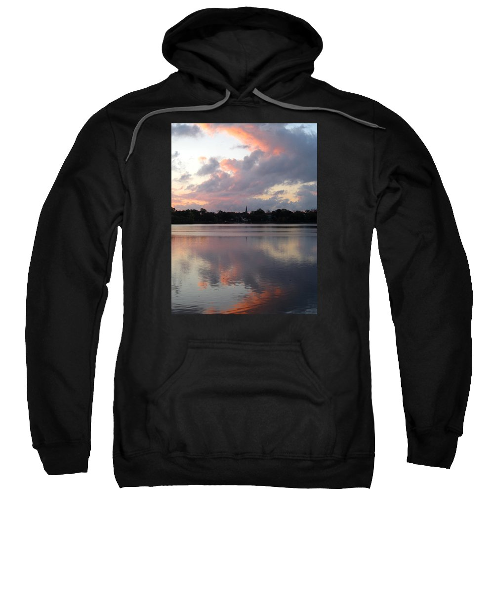 Sunrise Sweatshirt featuring the photograph Pink Sunrise With Dramatic Clouds And Steeple On Jamaica Pond by Giora Hadar