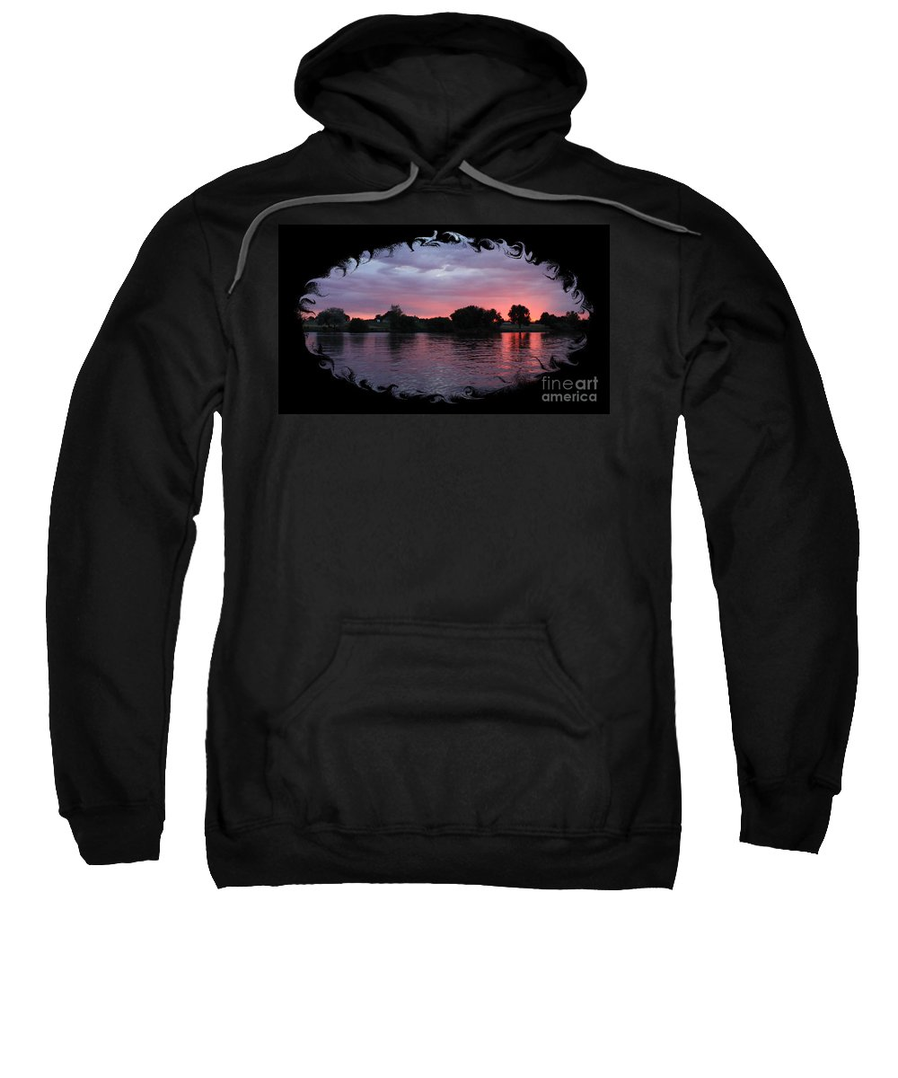 Sunset Sweatshirt featuring the photograph Pink Sunset Panorama With Black Framing by Carol Groenen