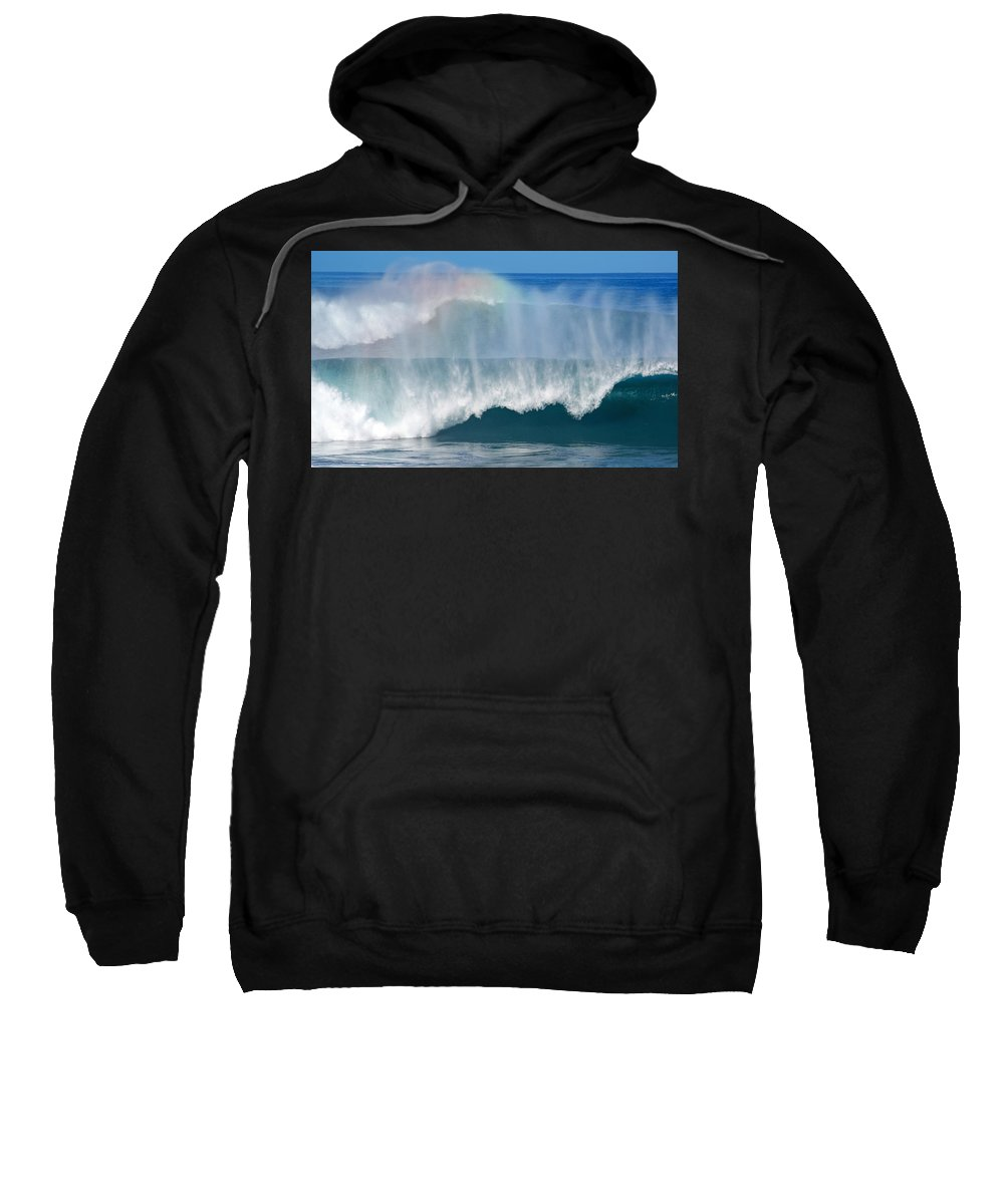 Rainbow Sweatshirt featuring the photograph Pipeline Rainbow by Kevin Smith