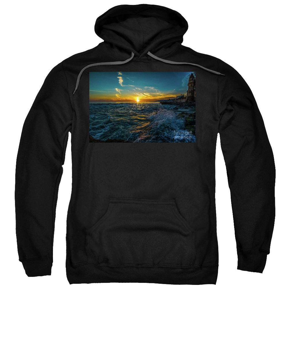 Lagunabeach Sweatshirt featuring the painting Pirate Tower by Gregory Schaffer