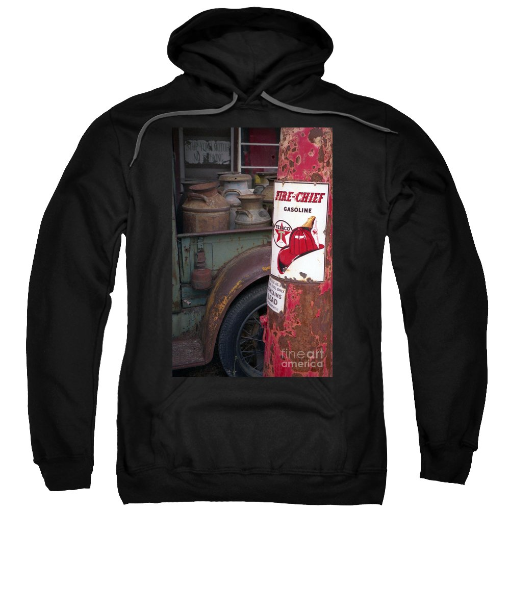 Old Milk Jugs Sweatshirt featuring the photograph Pit Stop by Richard Rizzo
