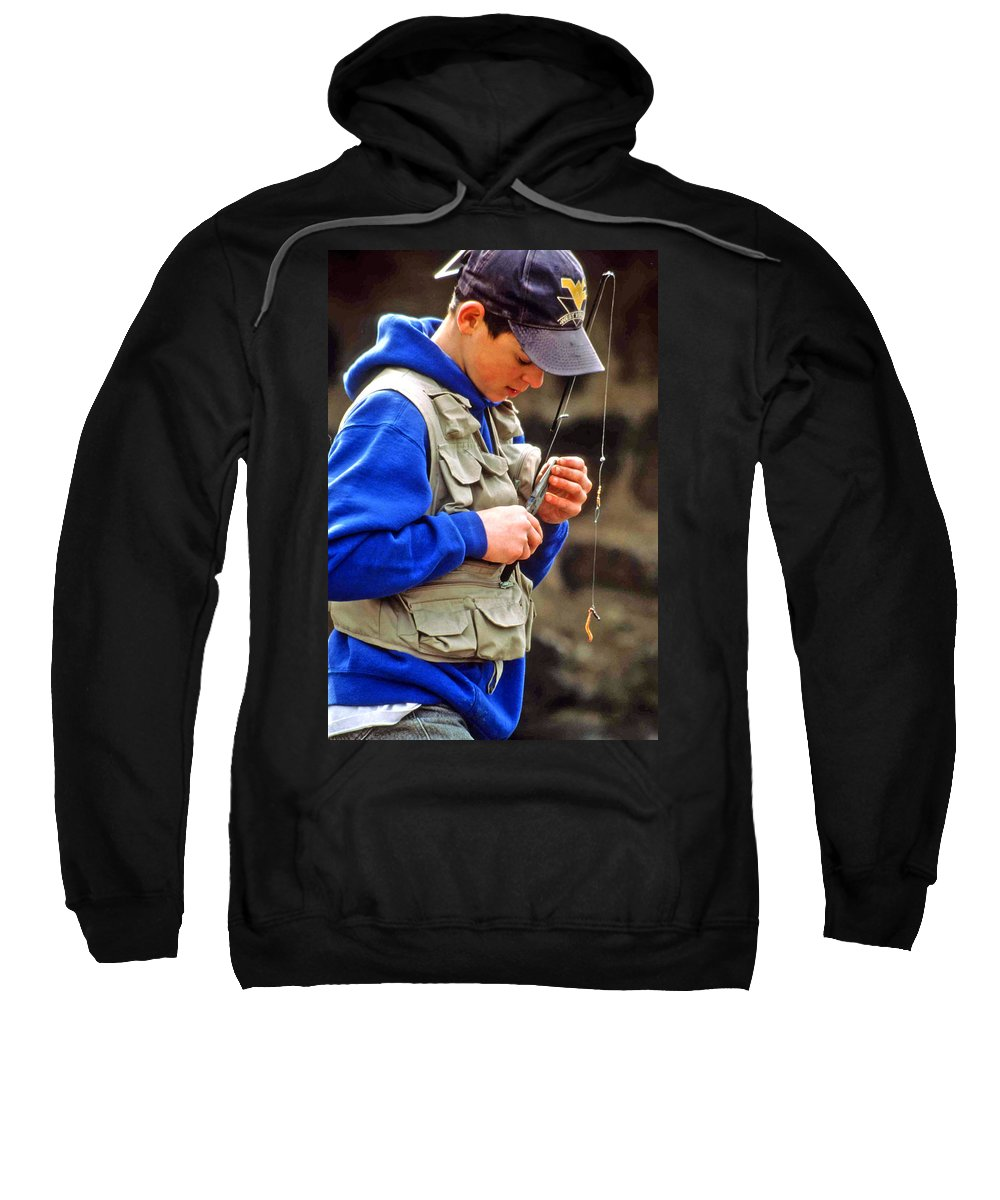 Boy Fishing Sweatshirt featuring the photograph Plan To Succeed by Laurie Paci