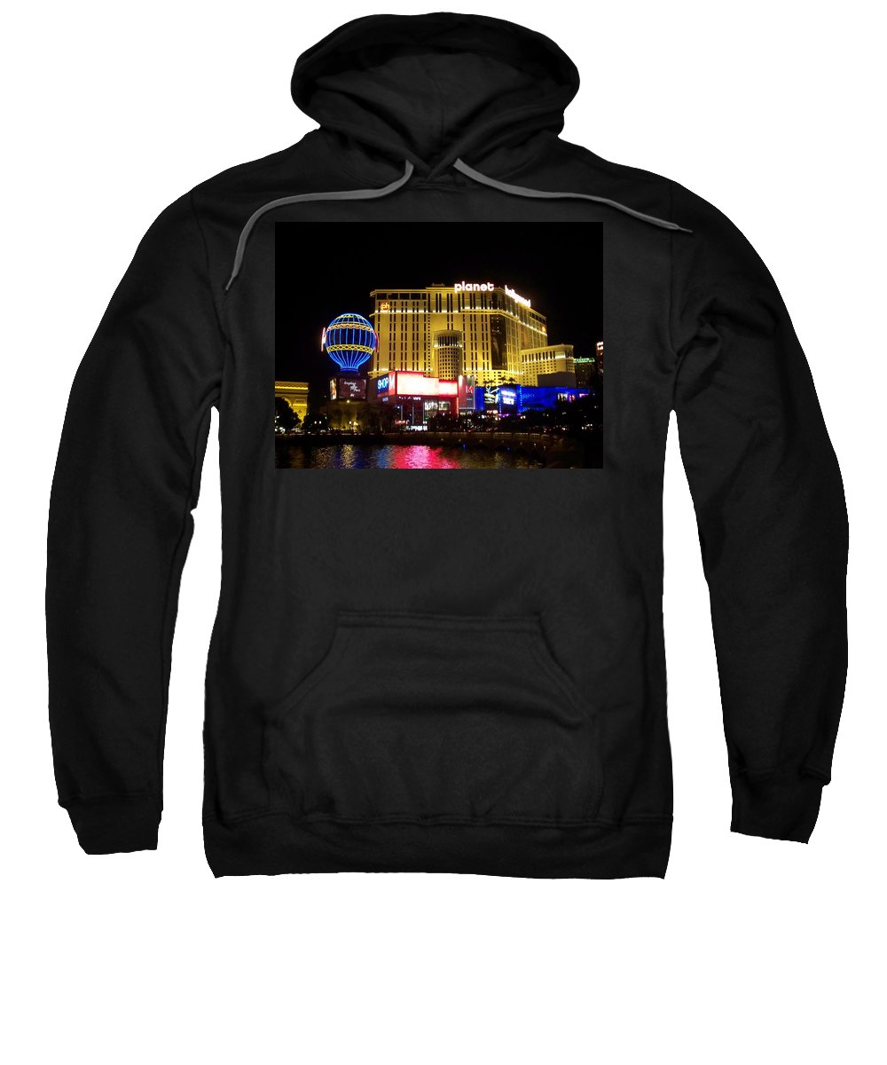 Vegas Sweatshirt featuring the photograph Planet Hollywood By Night by Anita Burgermeister