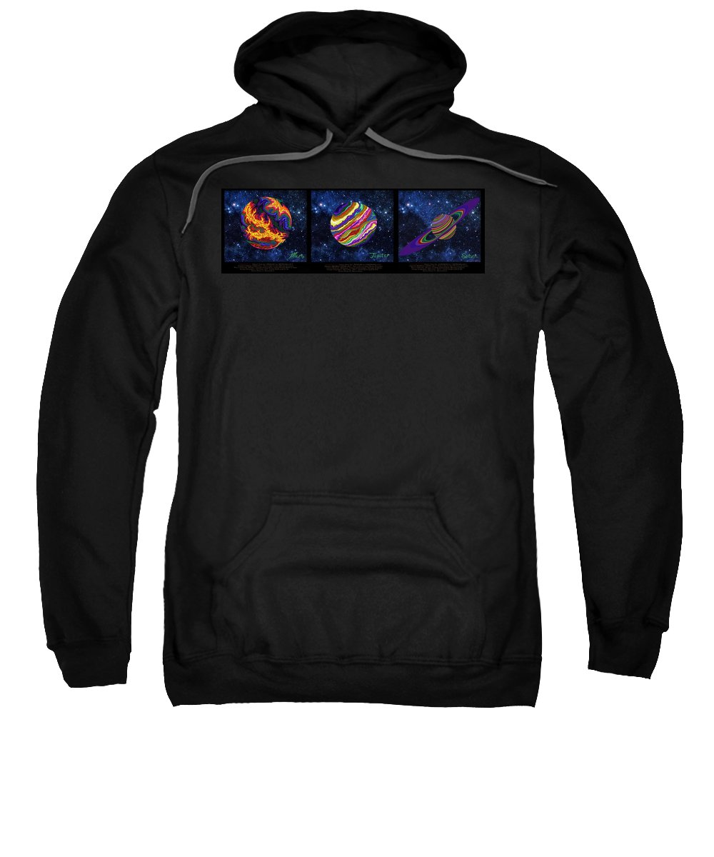 Mars Sweatshirt featuring the painting Planets 4 5 6 Astronomy by Robert SORENSEN