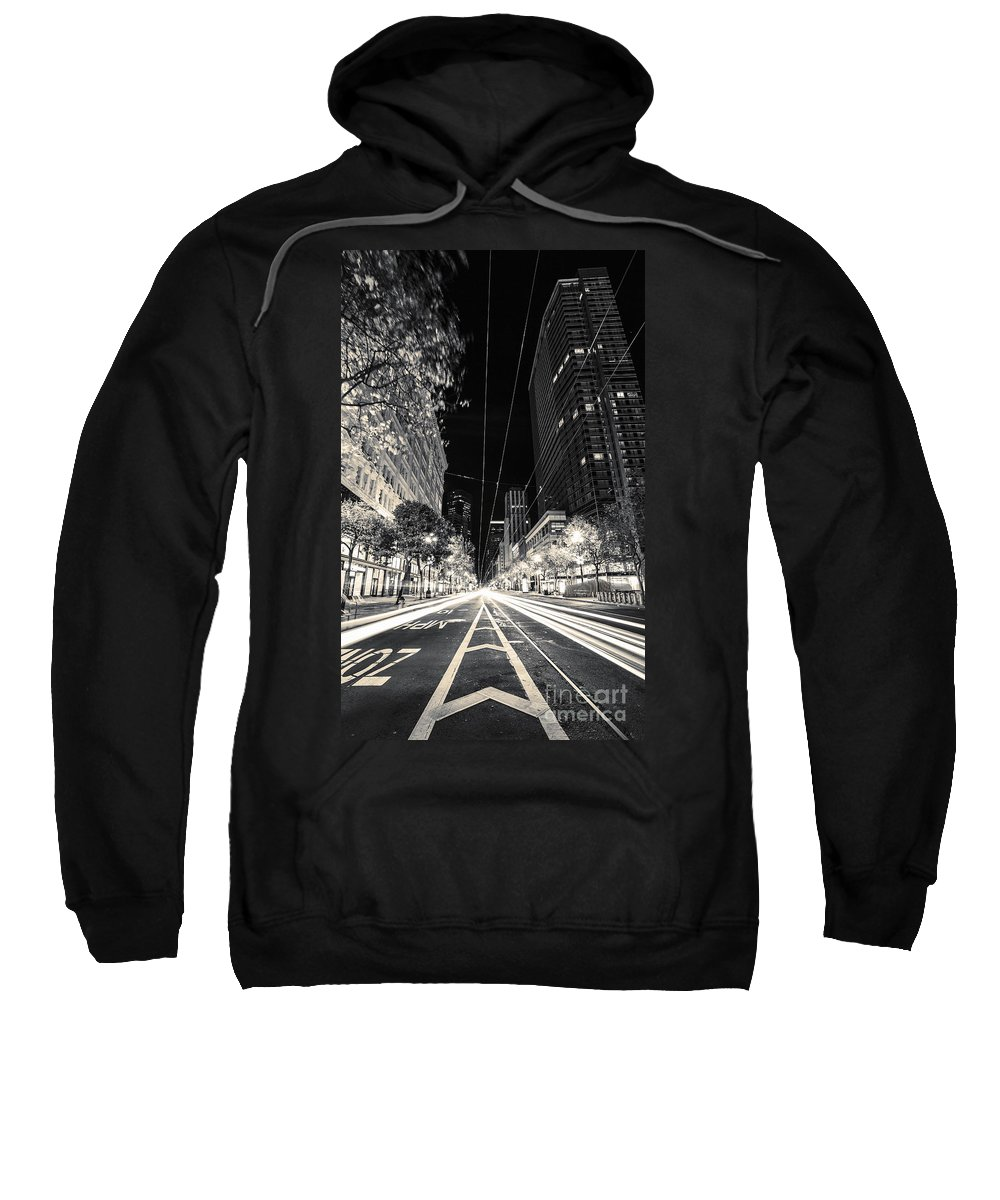 San Francisco Sweatshirt featuring the photograph Playing In Traffic Blackout by Digital Kulprits