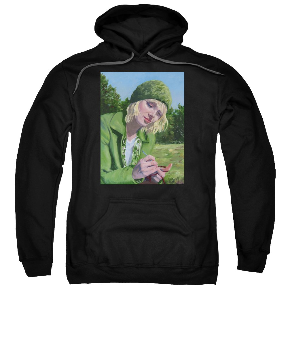 Figurative Sweatshirt featuring the painting Plein Air Crocheting by Connie Schaertl