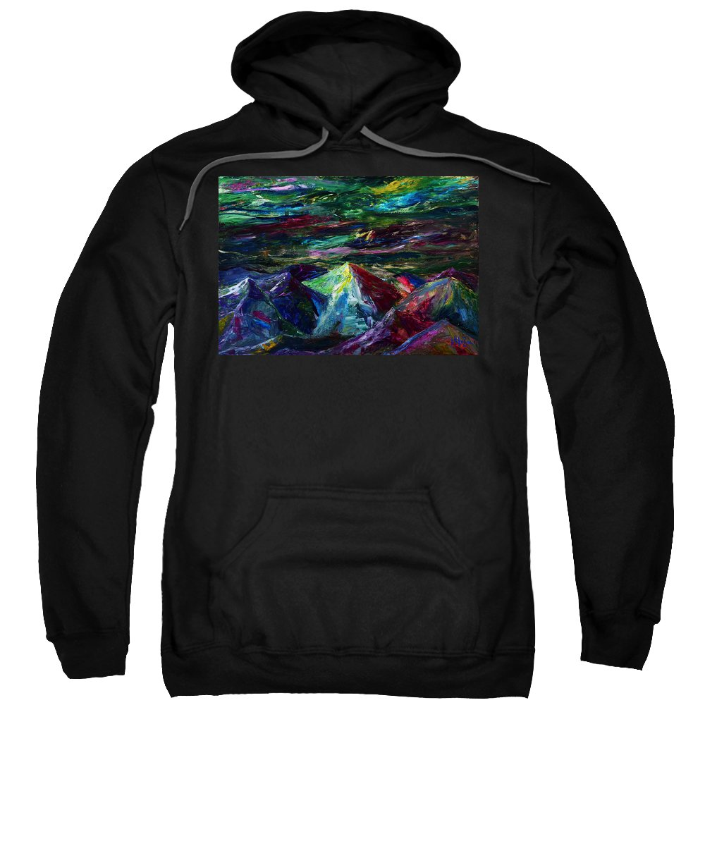Southwest Sweatshirt featuring the painting Poem Of The Rocks by Miko At The Love Art Shop