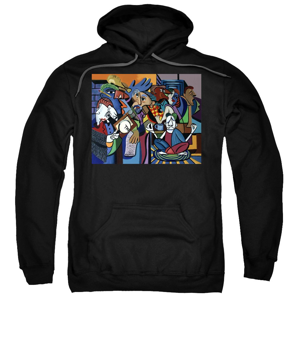 Poets Unleashed Men Talking Reading Yoga Coffee Chicken The Cubism Cubestraction Bench Impressionist Expressionism Large Giclee Canvas Print Poster Original Oil Painting On Canvas Anthony Falbo Falboart   Sweatshirt featuring the painting Poets Unleashed by Anthony Falbo