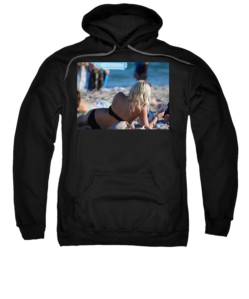 Cards Sweatshirt featuring the photograph Poker At The Beach by Rob Hans