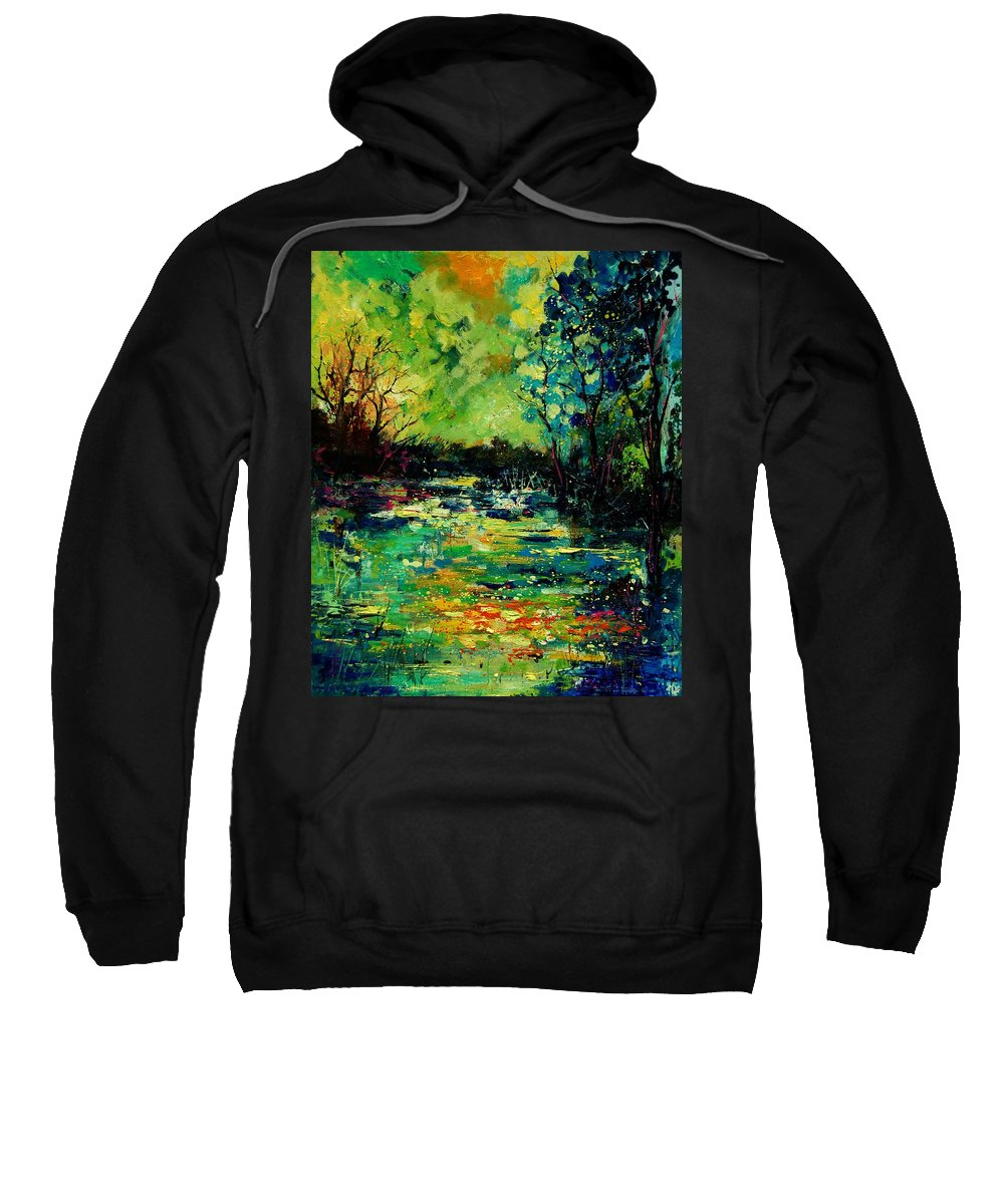 Pond Sweatshirt featuring the painting Pond 560120 by Pol Ledent