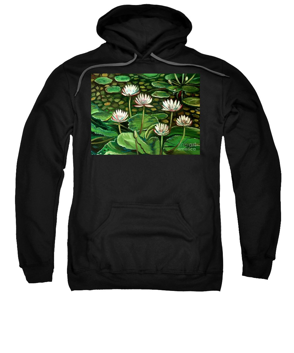 Water Sweatshirt featuring the painting Pond Of Petals by Elizabeth Robinette Tyndall