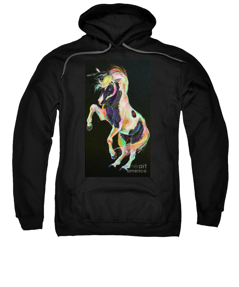 Paint Sweatshirt featuring the painting Pony Power II by Louise Green