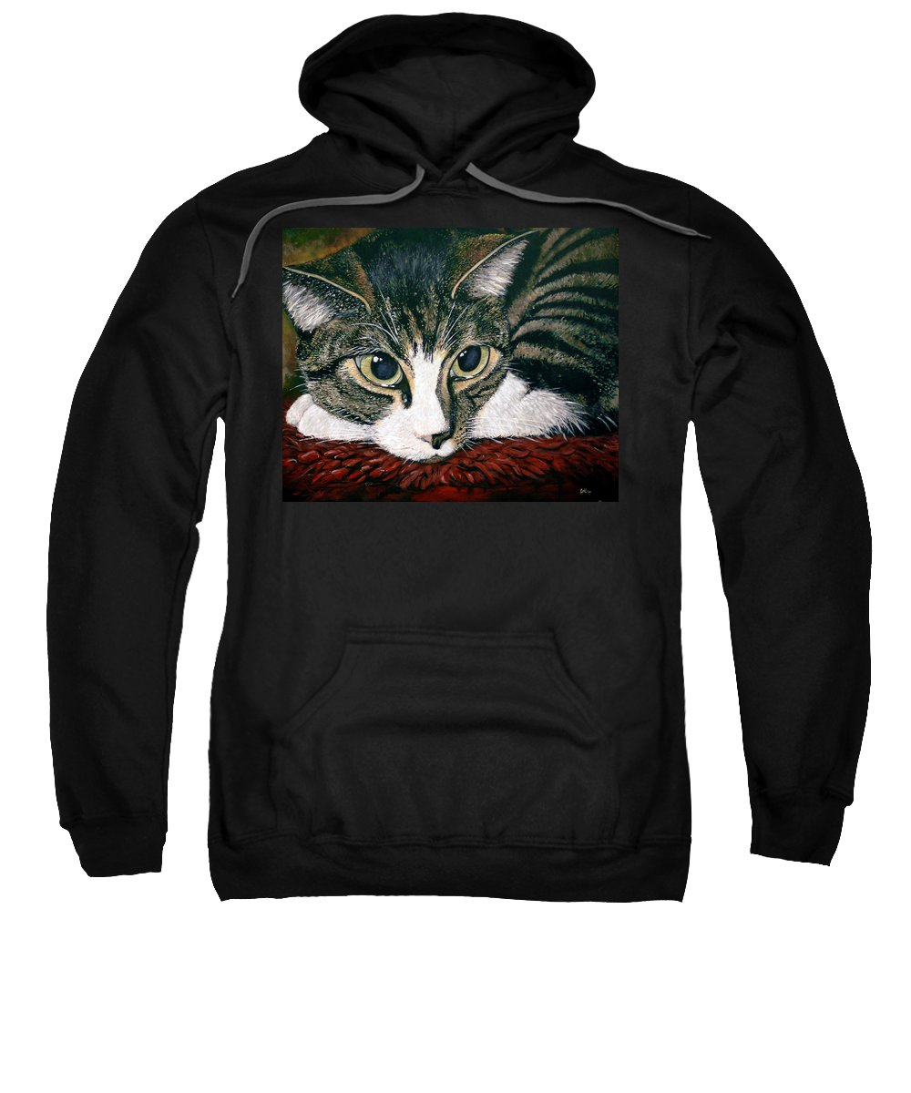 Cat Sweatshirt featuring the painting Pooky by Arie Van der Wijst