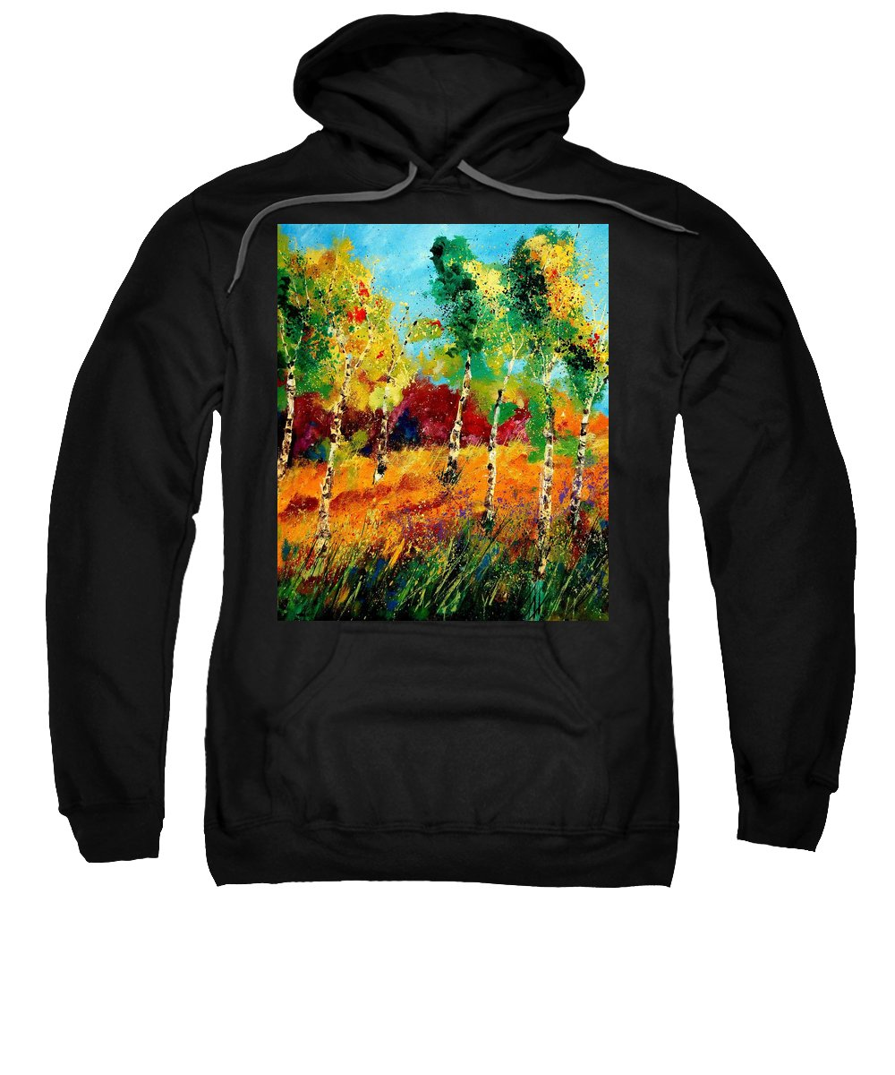 Poppy Sweatshirt featuring the painting Poplars '459070 by Pol Ledent