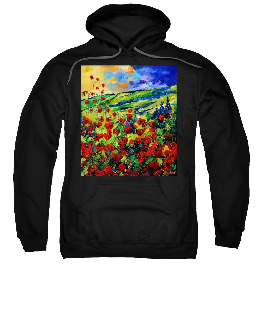 Flowers Sweatshirt featuring the painting Poppies 78 by Pol Ledent