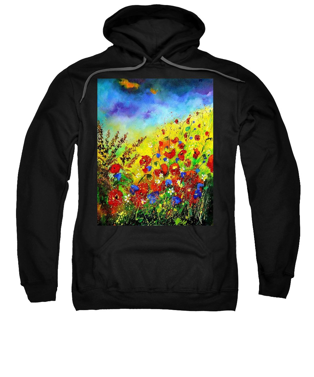 Poppies Sweatshirt featuring the tapestry - textile Poppies and blue bells by Pol Ledent
