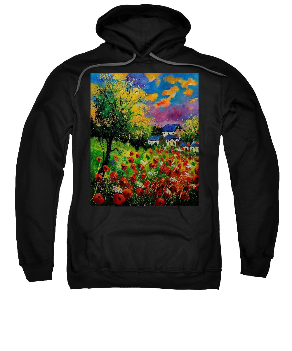 Landscape Sweatshirt featuring the painting Poppies and daisies 560110 by Pol Ledent