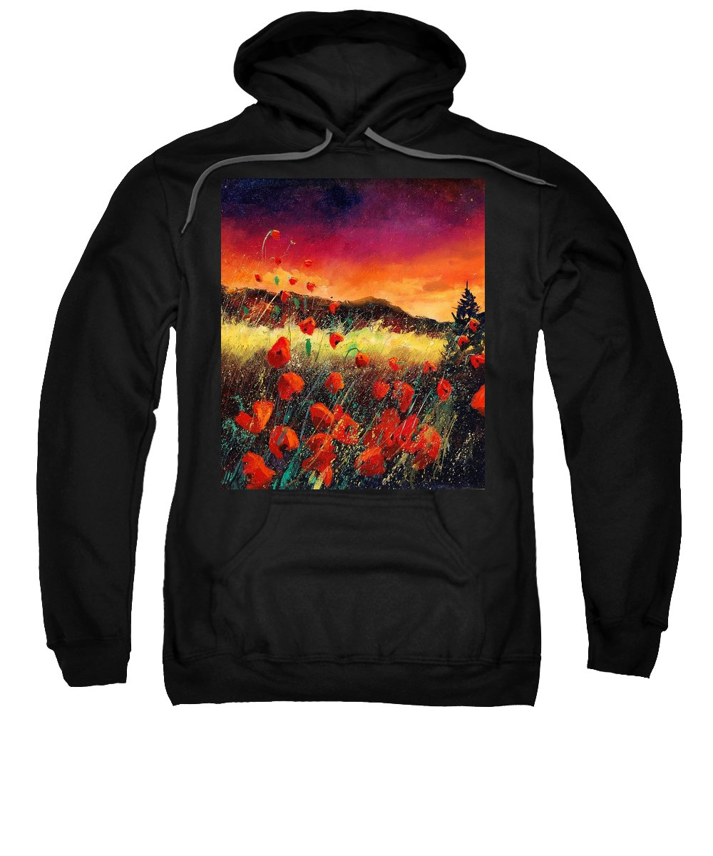Poppies Sweatshirt featuring the painting Poppies At Sunset 67 by Pol Ledent