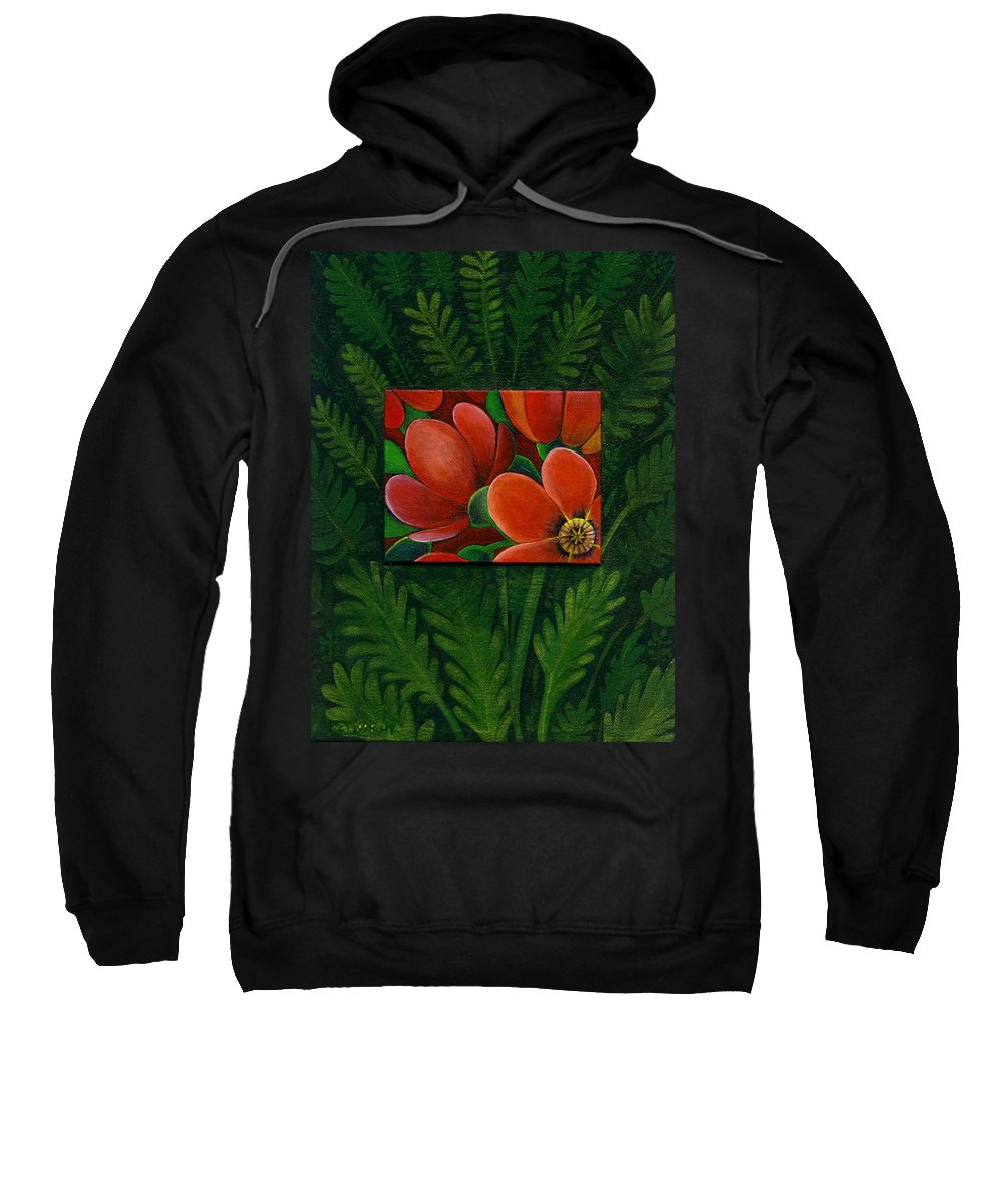 Poppy Sweatshirt featuring the painting Poppies by Helena Tiainen