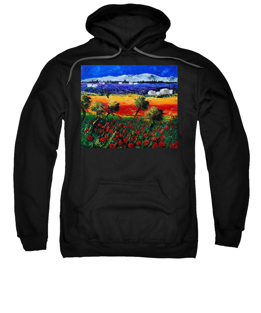 Poppy Sweatshirt featuring the painting Poppies in Provence by Pol Ledent