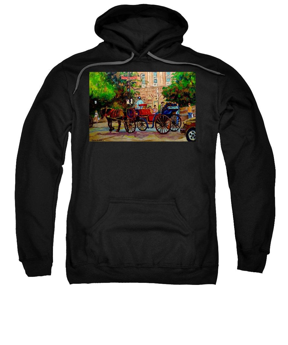 Old Montreal Sweatshirt featuring the painting Popular Quebec Artists Carole Spandau Painter Of Scenes De Rue Montreal Street Scenes by Carole Spandau