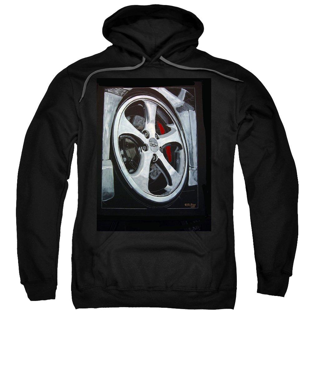Porsche Sweatshirt featuring the painting Porsche Techart Wheel by Richard Le Page