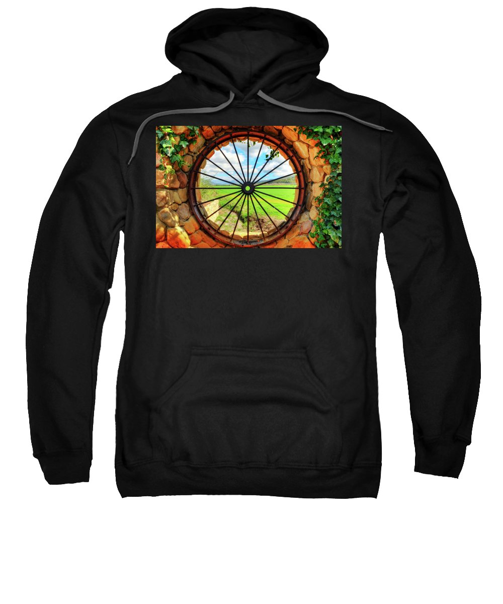 Fence Wall Grass Wheel Spokes Ivy Sweatshirt featuring the photograph Portal by Wendell Ward