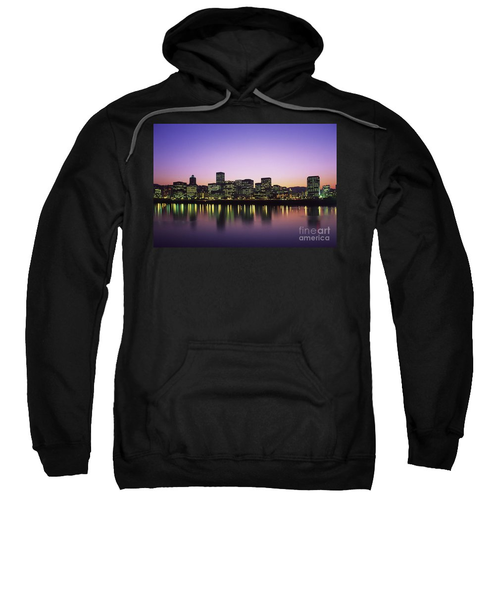 Across Sweatshirt featuring the photograph Portland Cityscape by Greg Vaughn - Printscapes