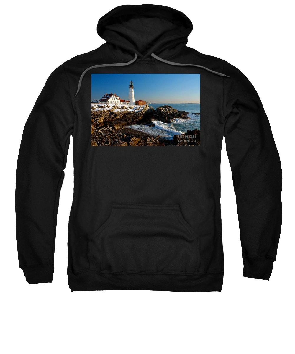Coastline Sweatshirt featuring the photograph Portland Head Light - Lighthouse Seascape Landscape Rocky Coast Maine by Jon Holiday
