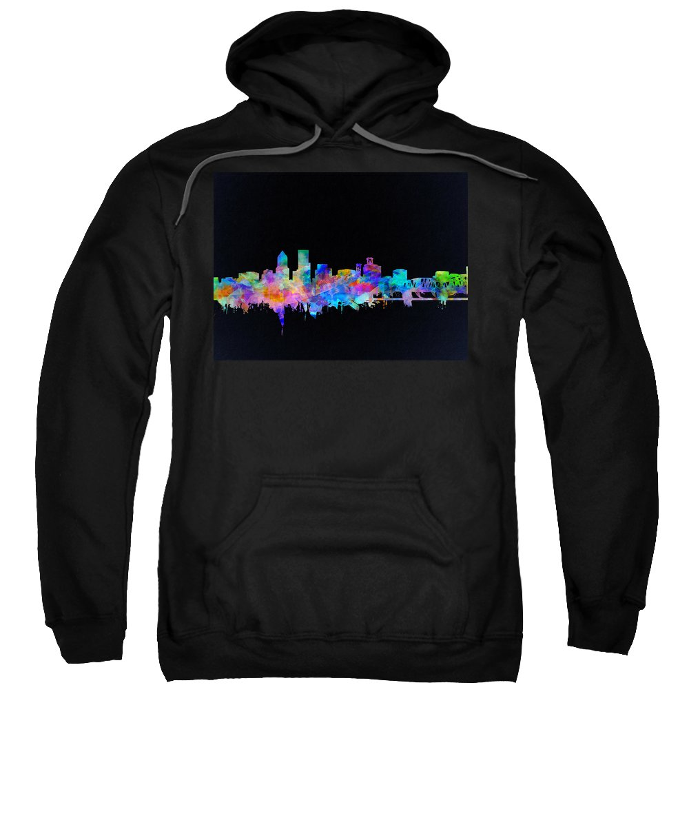 Portland Sweatshirt featuring the painting Portland Skyline Watercolor by Bekim M