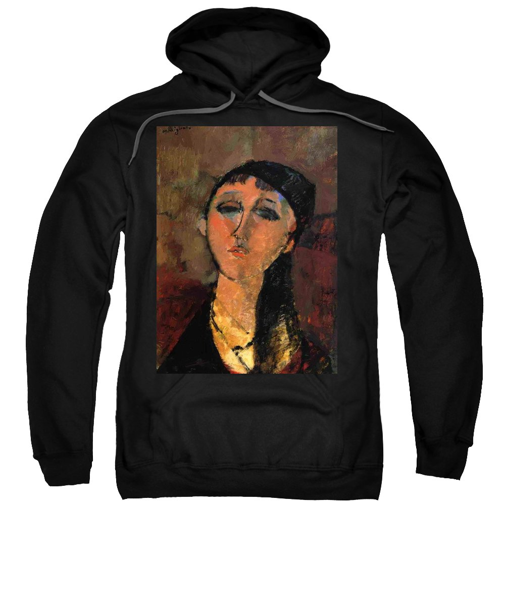 Portrait Sweatshirt featuring the painting Portrait Of A Young Girl Louise 1915 by Modigliani Amedeo