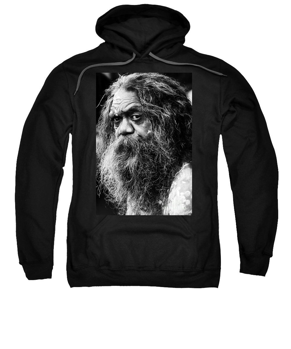 Aborigine Aboriginal Australian Sweatshirt featuring the photograph Portrait Of An Australian Aborigine by Sheila Smart Fine Art Photography