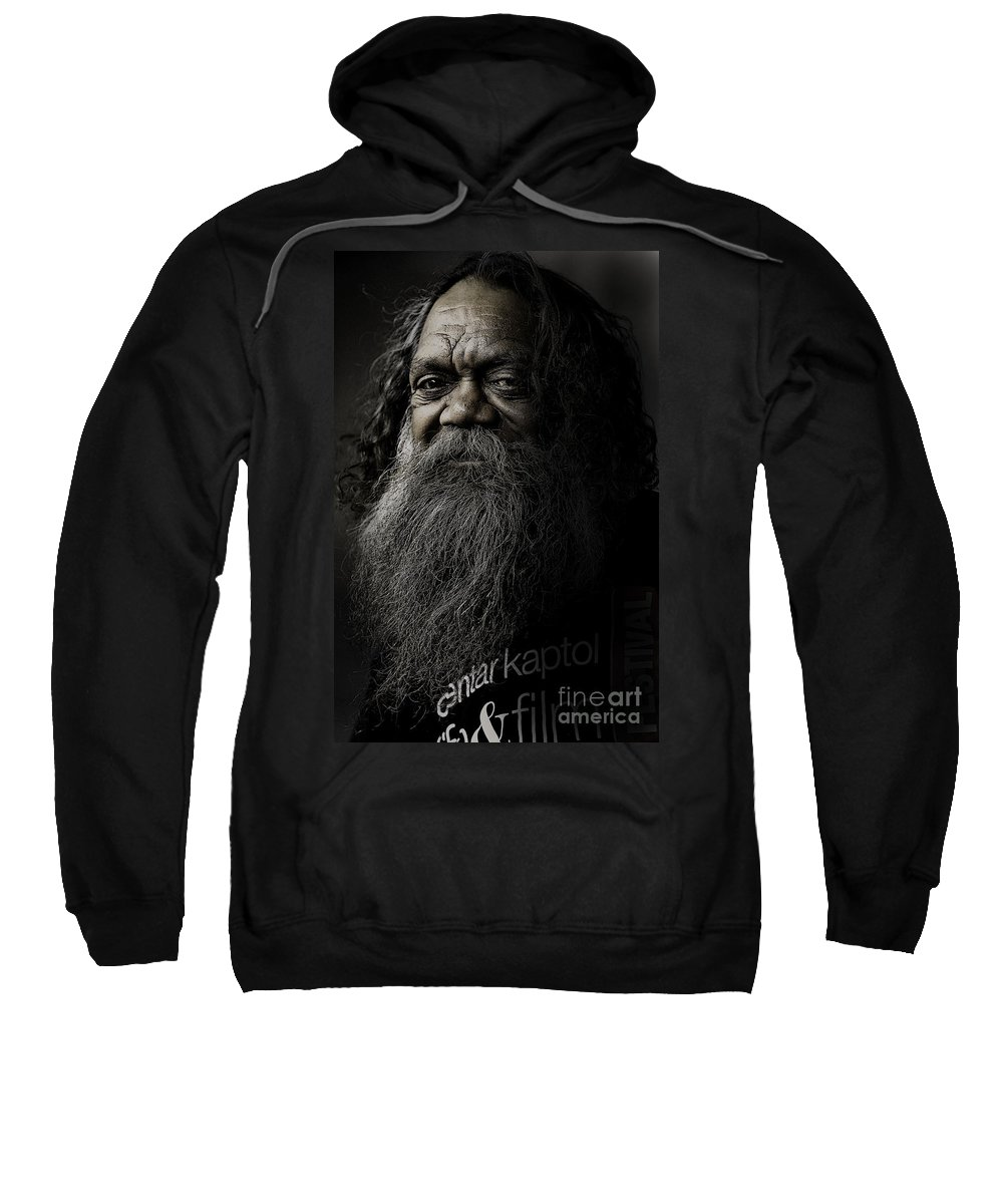 Aboriginal Sweatshirt featuring the photograph Portrait Of Cedric by Sheila Smart Fine Art Photography