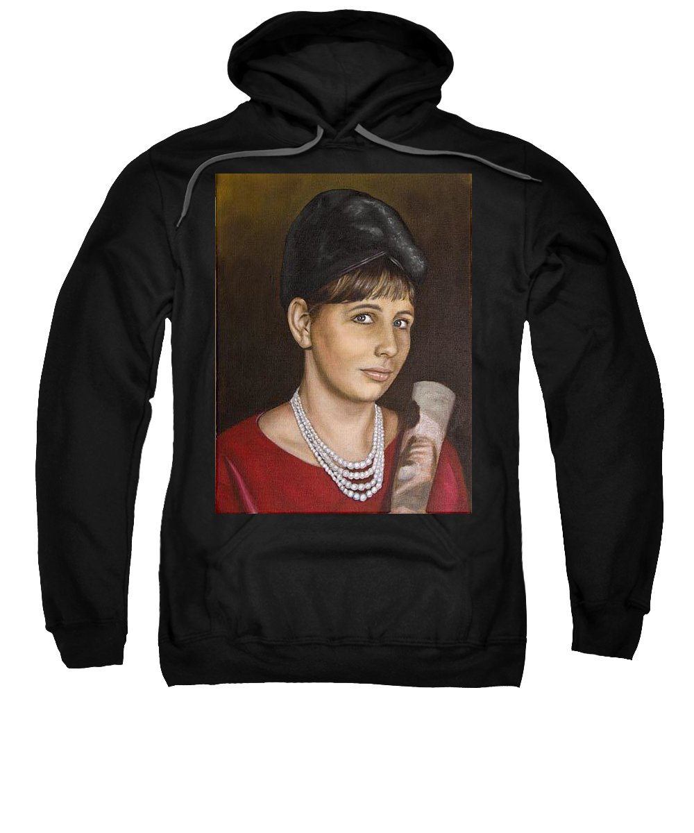 Portrait Sweatshirt featuring the painting Portrait Of My Mother Early Sixties by Rob De Vries