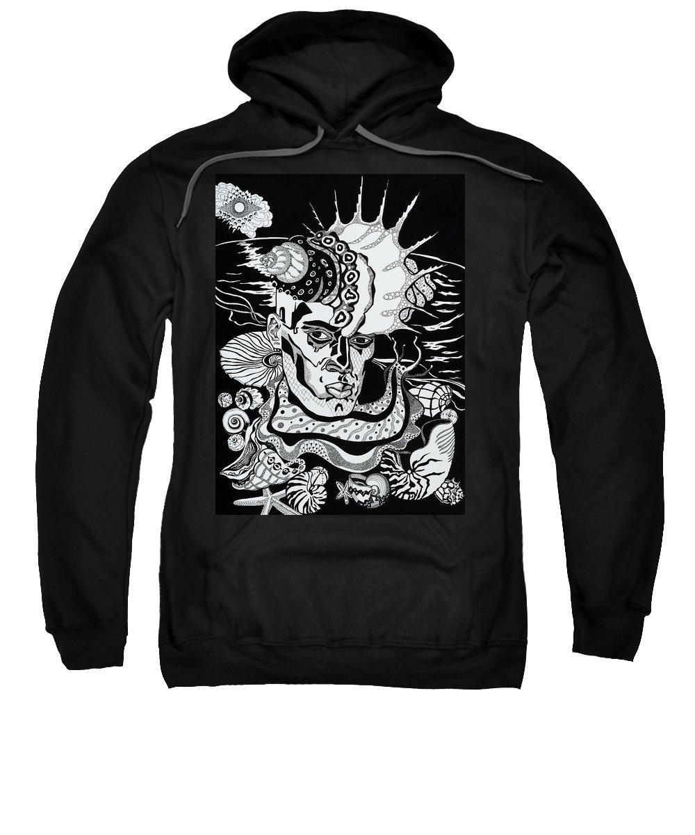 Surreal Sweatshirt featuring the drawing Poseidon by Yelena Tylkina