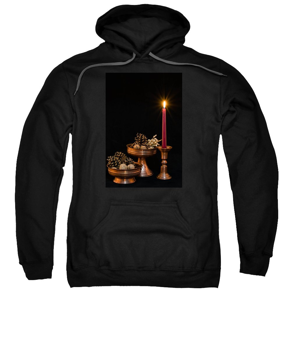 Ancient Sweatshirt featuring the photograph Post Card With Traditional Copper Dishes And Red Candle by Gergana Chakalova