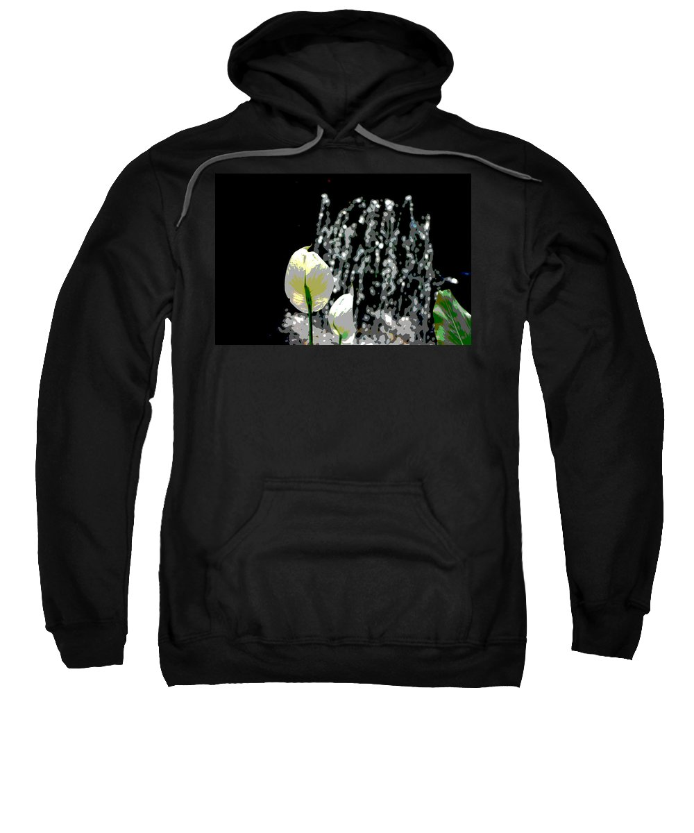 Posterized Sweatshirt featuring the digital art Posterized Fountain And Flower by Alice Markham