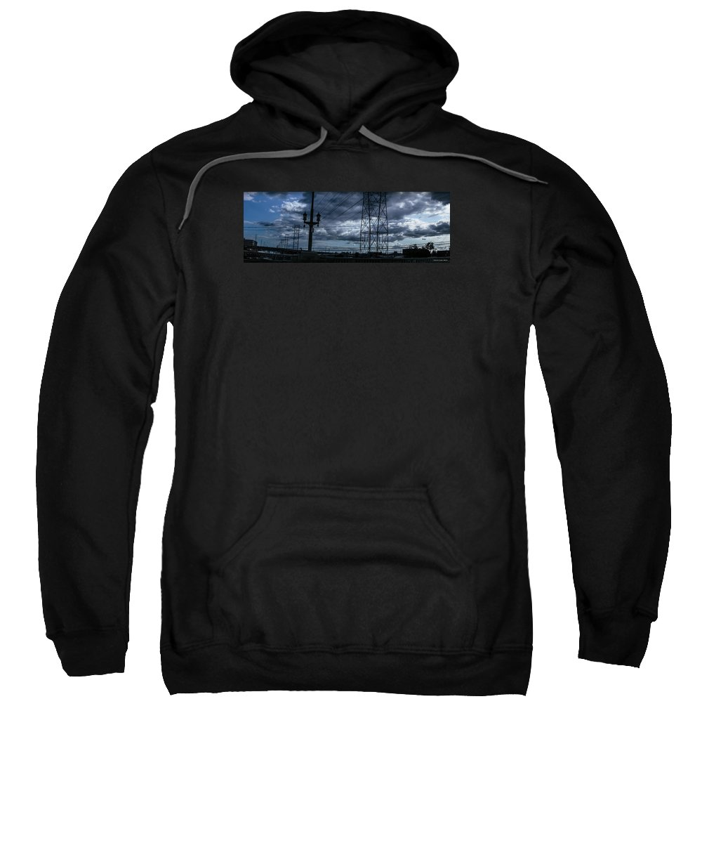 Iphone Cover Sweatshirt featuring the photograph Los Angeles Power Grid At Dusk by Ralph King