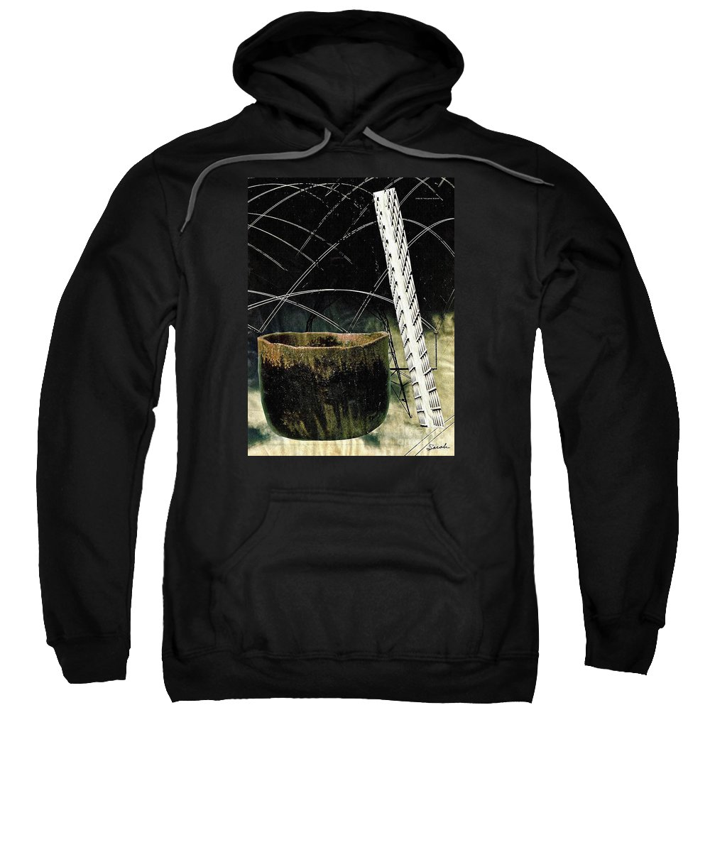 Abstract Sweatshirt featuring the mixed media Power Lines by Sarah Loft