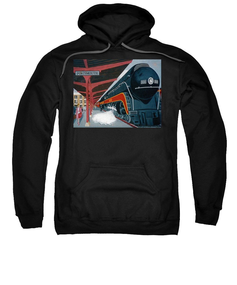 Railroad Museum Painting Norfolk And Western Roanoke Virginia Stesm Travel Classic Collectors Frank L. Hunter Realism Station Art Gallery Portsmouth Ohio Class J Engine Powhattan Arrow Station Depot N&w Norfolk And Western Railway Sweatshirt featuring the painting Powhatan Arrow At Portsmouth by Frank Hunter
