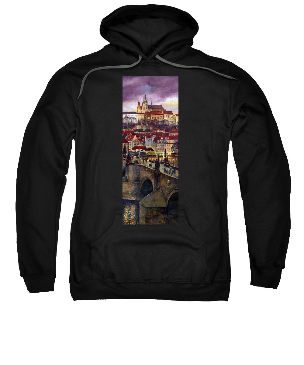 Prague Sweatshirt featuring the painting Prague Charles Bridge With The Prague Castle by Yuriy Shevchuk