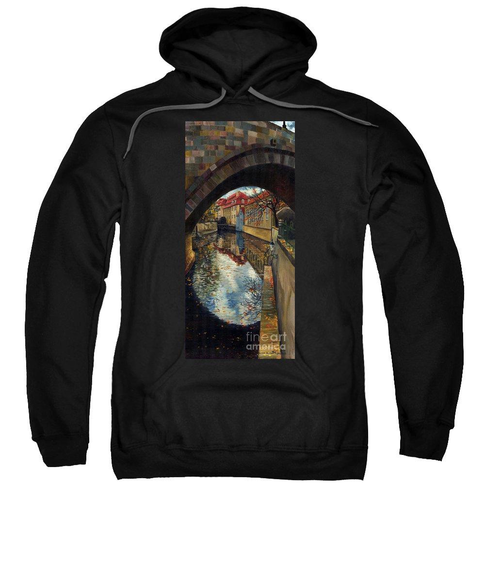 Oil Sweatshirt featuring the painting Prague Chertovka 3 by Yuriy Shevchuk