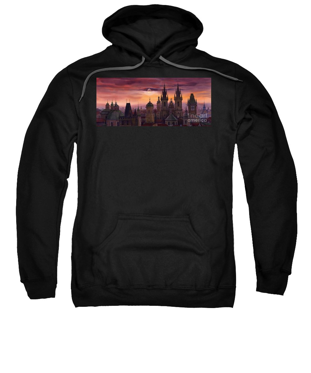 Cityscape Sweatshirt featuring the painting Prague City Of Hundres Spiers by Yuriy Shevchuk