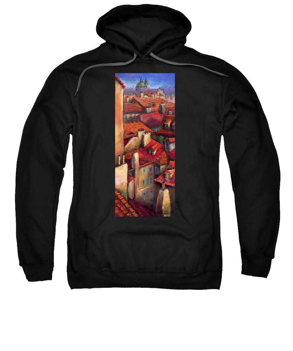 Prague Sweatshirt featuring the painting Prague Roofs by Yuriy Shevchuk