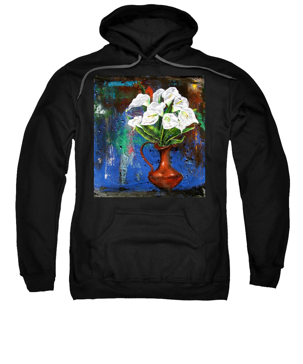 Orchid Painting Sweatshirt featuring the painting Preacher In The Pulpit 2 by Laura Pierre-Louis