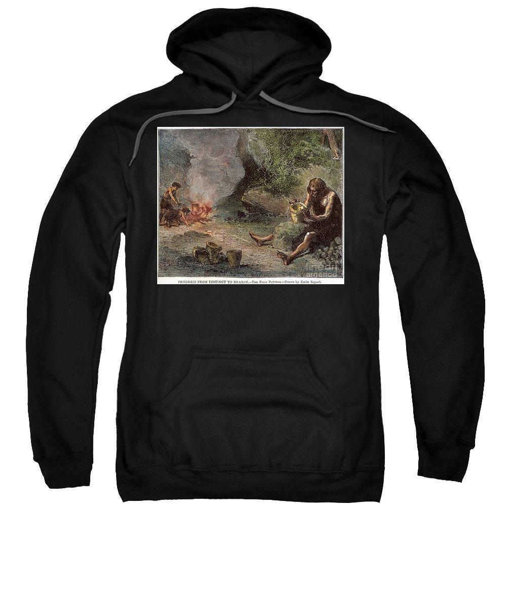 Caveman Sweatshirt featuring the photograph Prehistoric Man: Pottery by Granger