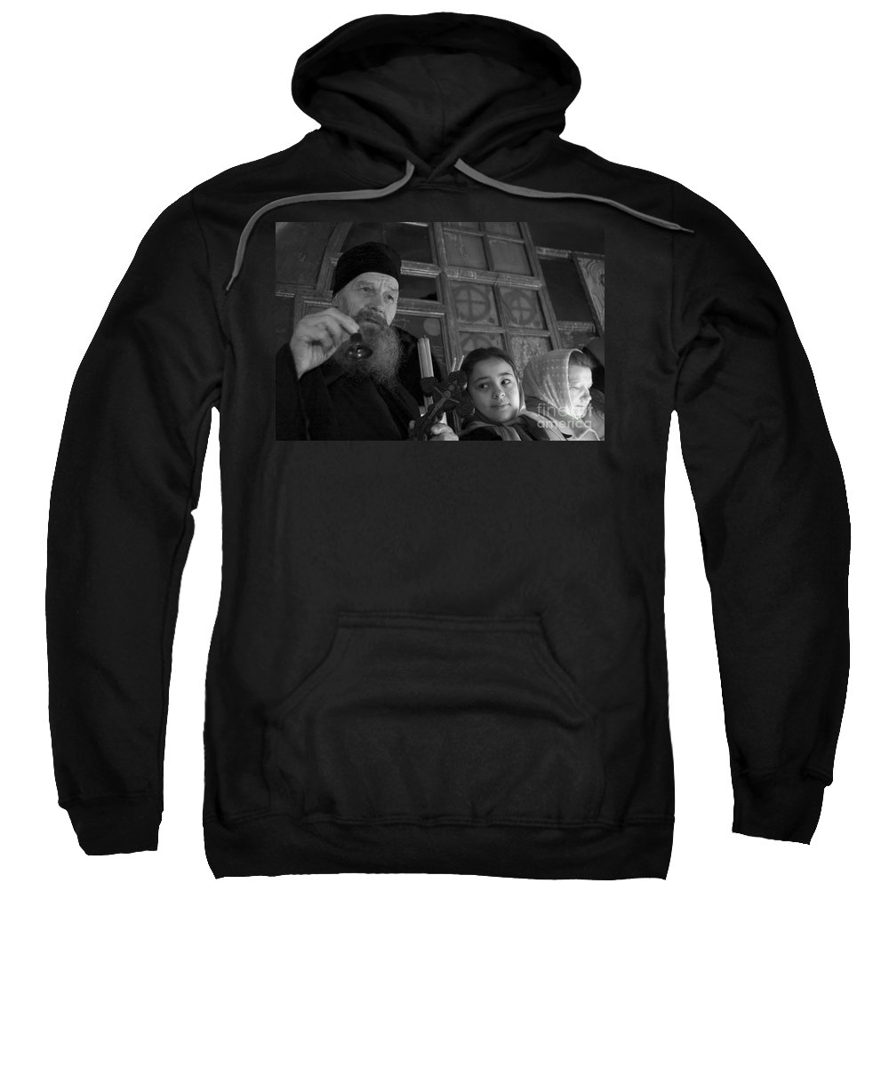 Christian Sweatshirt featuring the photograph Priest And A Young Girl by Nahum Budin