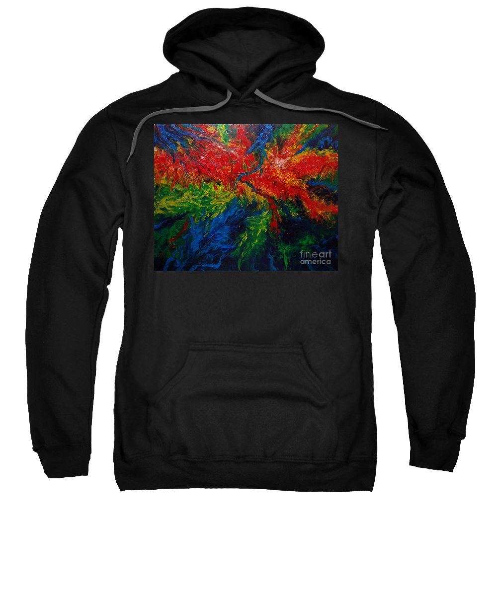 Acrylic Sweatshirt featuring the painting Primary Abstract II by Nancy Mueller