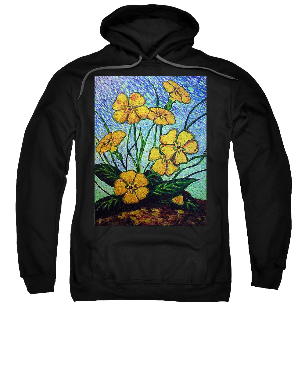 Flowers Sweatshirt featuring the painting Primula Veris by Ericka Herazo