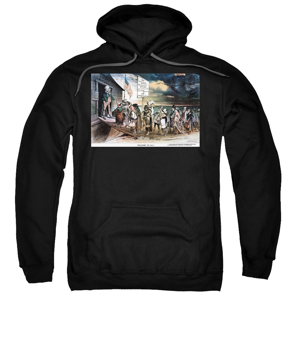 1880 Sweatshirt featuring the photograph Pro-immigration Cartoon by Granger